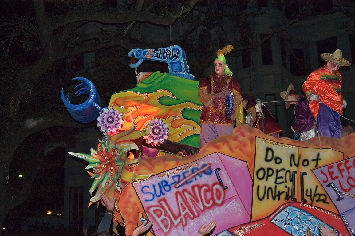 "The float No. 10 ""Carpetbaggers"" of krewe of...Charles Ave.. New Orleans, Louisiana"