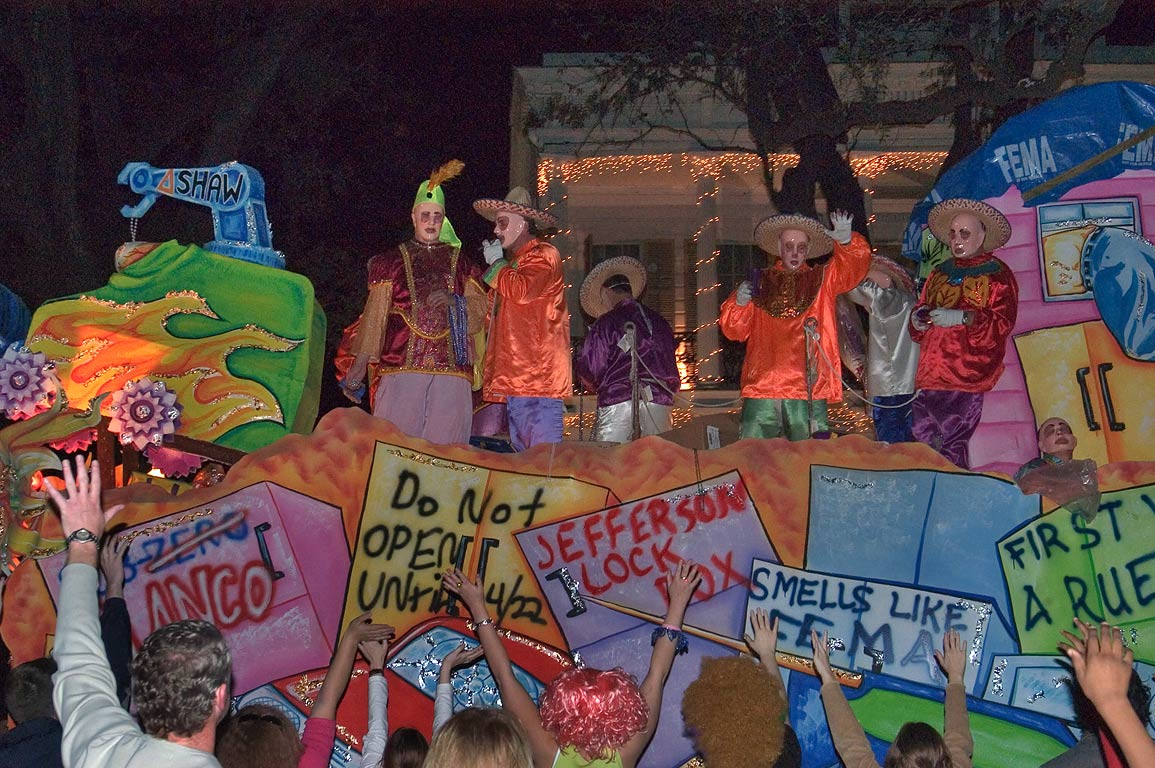 "Greeting of ""Carpetbaggers"" float of krewe of...Charles Ave.. New Orleans, Louisiana"