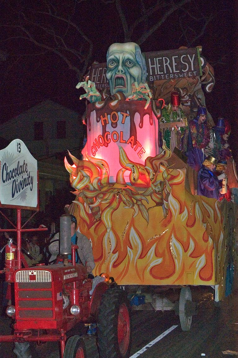 "The float No. 13 ""Chocolate Divinity"" of krewe of...Charles Ave.. New Orleans, Louisiana"