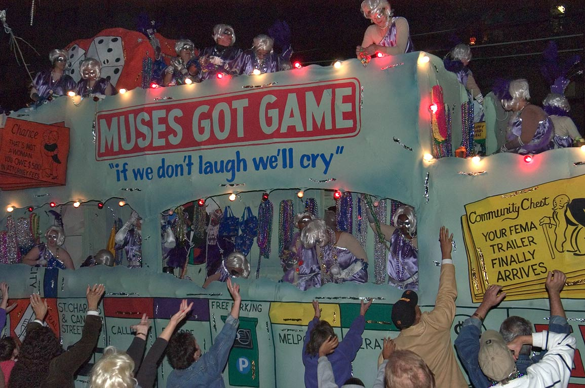 "Muses Got Game"" float of krewe of Muses at Mardi...Charles Ave.. New Orleans, Louisiana"