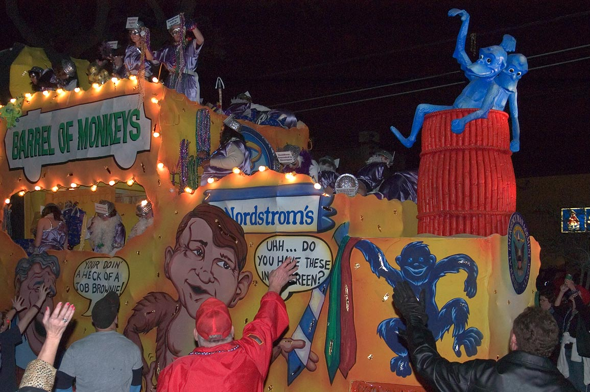 "Barrel of Monkeys"" float of krewe of Muses at...Charles Ave.. New Orleans, Louisiana"