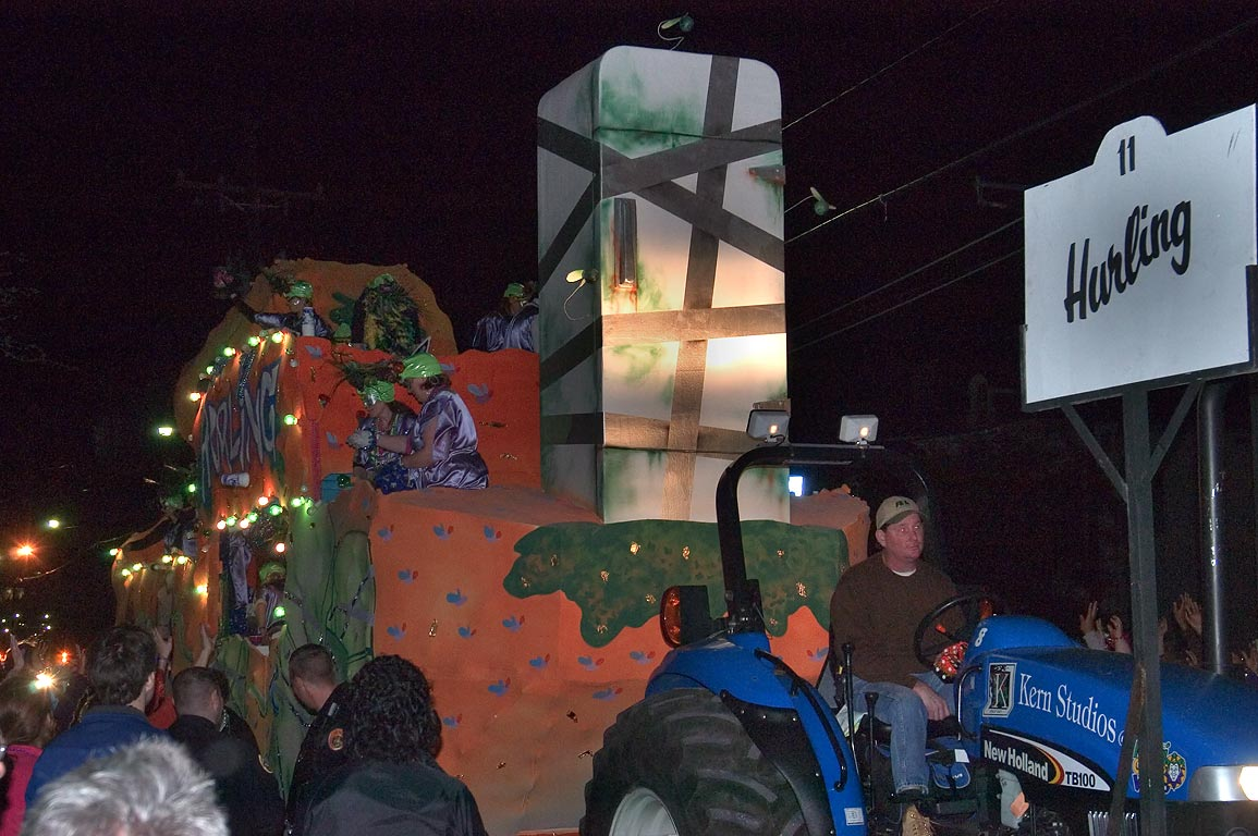 "Float No. 11 ""Hurling"" of krewe of Muses at Mardi...Charles Ave.. New Orleans, Louisiana"