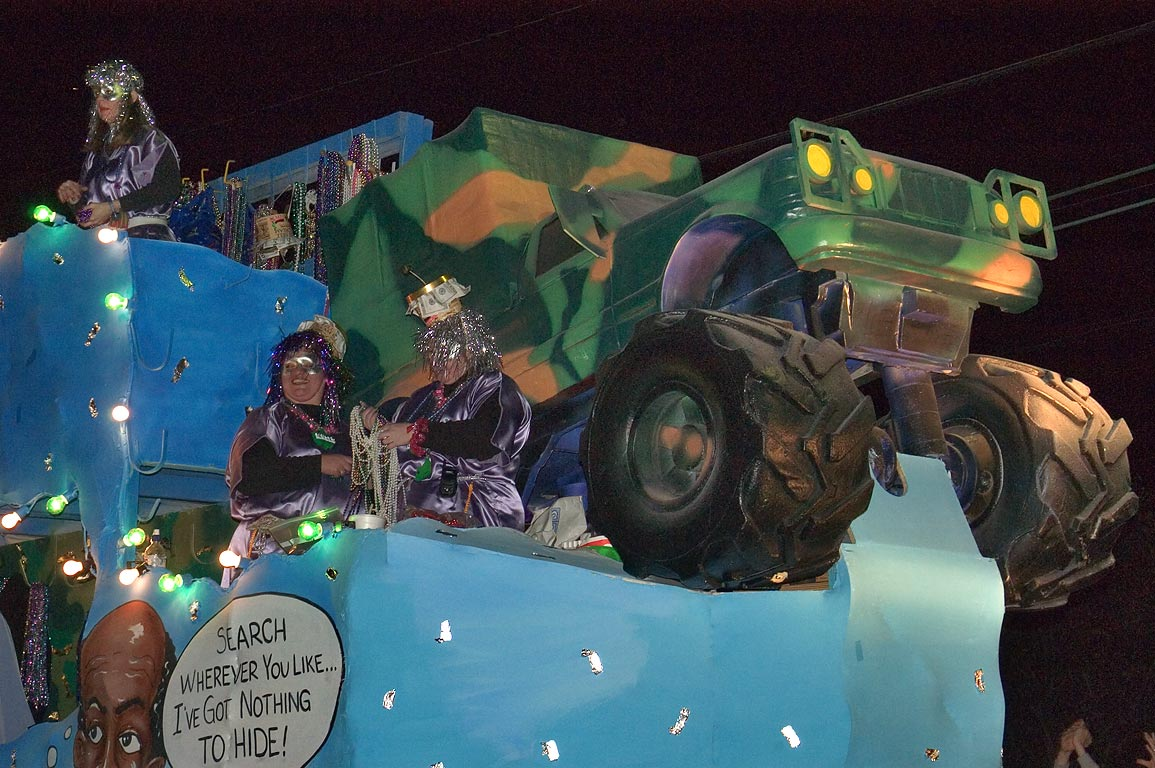 "Hide and Seek"" float of krewe of Muses at Mardi...Charles Ave.. New Orleans, Louisiana"