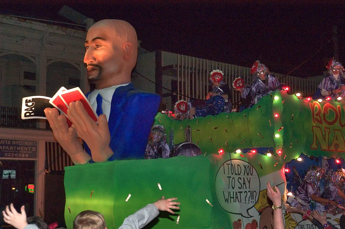 "Rouray Nagin"" float of krewe of Muses at Mardi...Charles Ave.. New Orleans, Louisiana"
