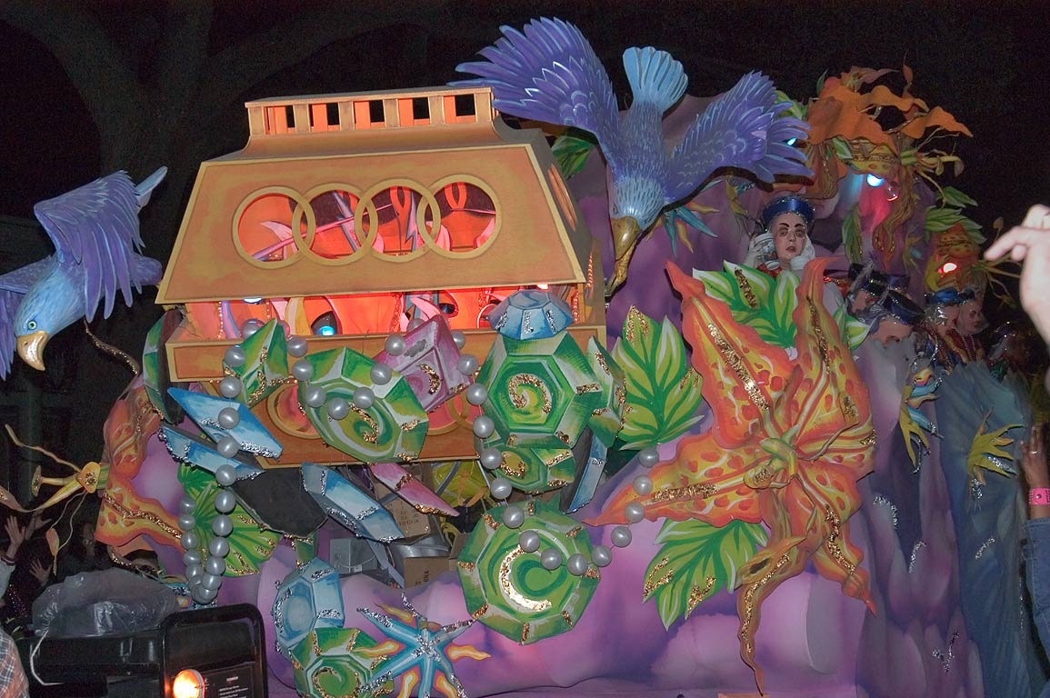Treasure float of krewe of Hermes at Mardi Gras...Charles Ave.. New Orleans, Louisiana
