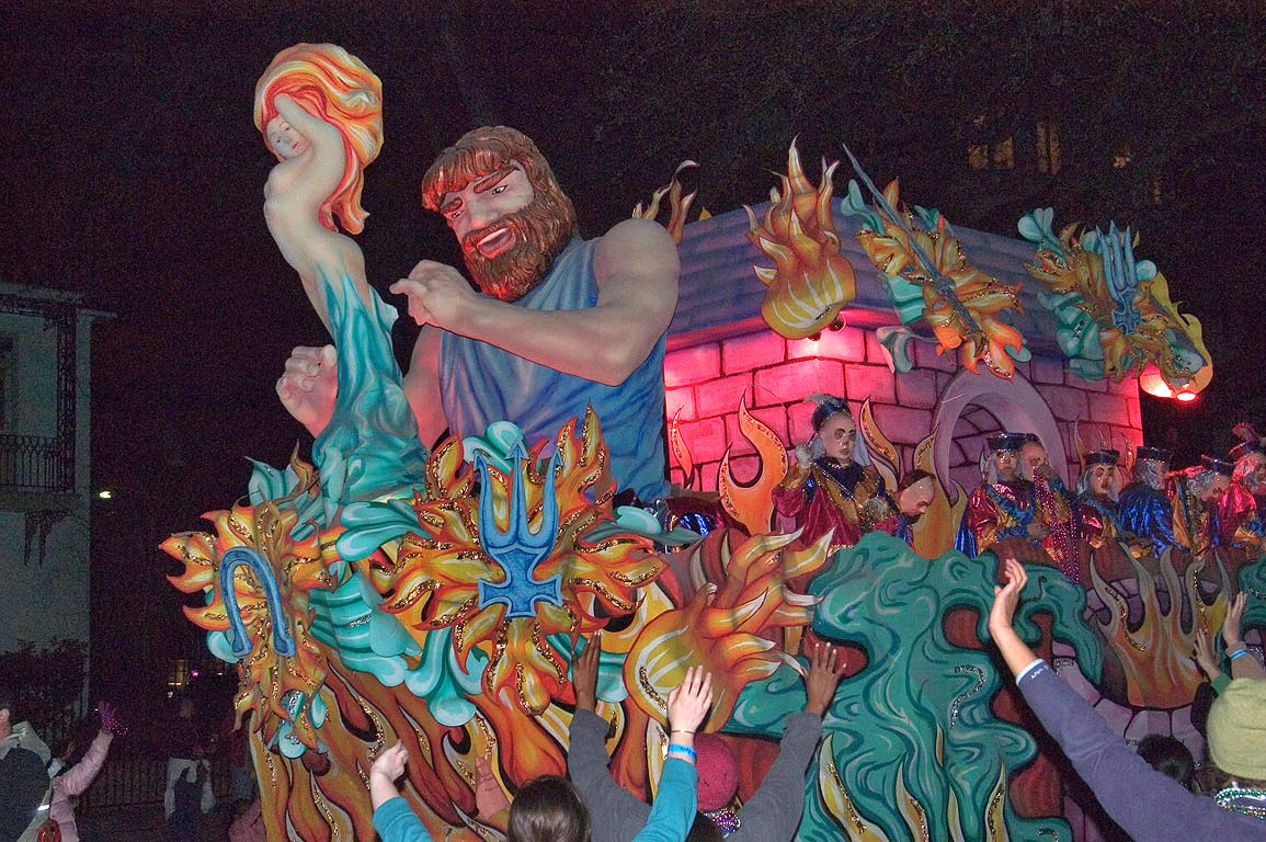 One of Mardi Gras floats of krewe of Hermes at...Charles Ave.. New Orleans, Louisiana