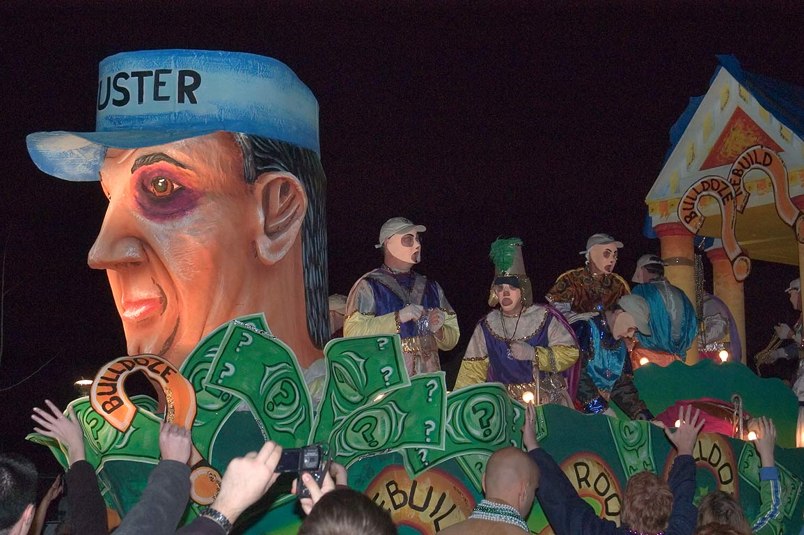 "Uster"" float of krewe of D'Etat at Mardi Gras...Charles Ave.. New Orleans, Louisiana"