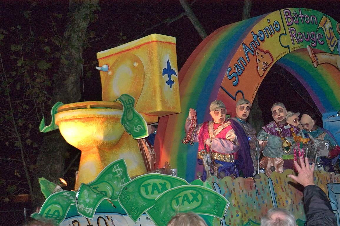 Waste float of krewe of D'Etat at Mardi Gras...Charles Ave.. New Orleans, Louisiana
