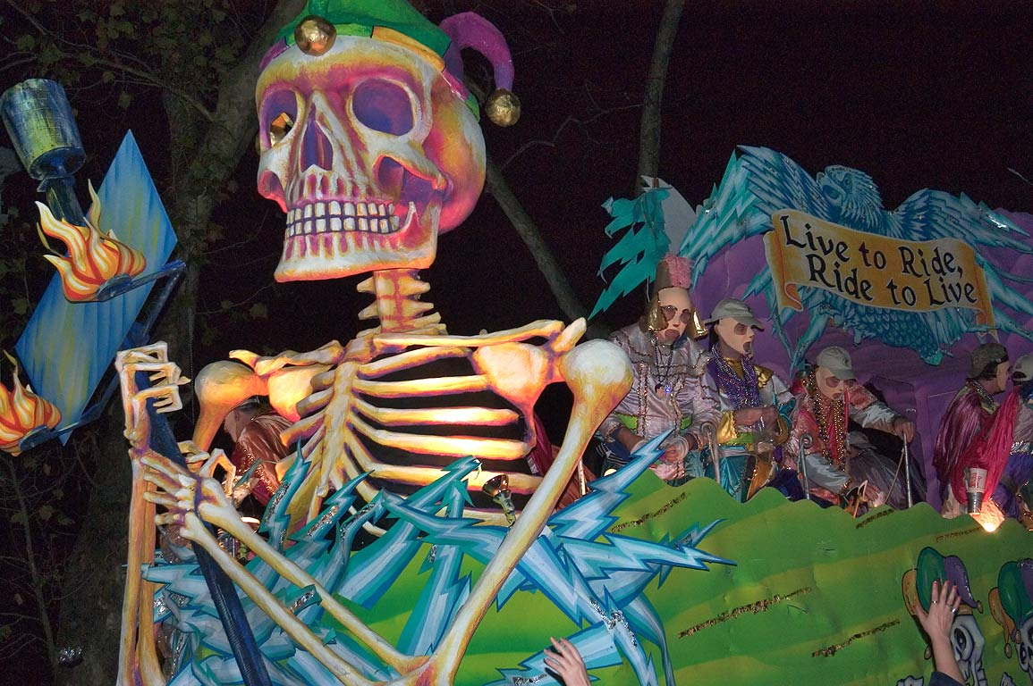 "Live to Ride, Ride to Live"" float of krewe of D...Charles Ave.. New Orleans, Louisiana"