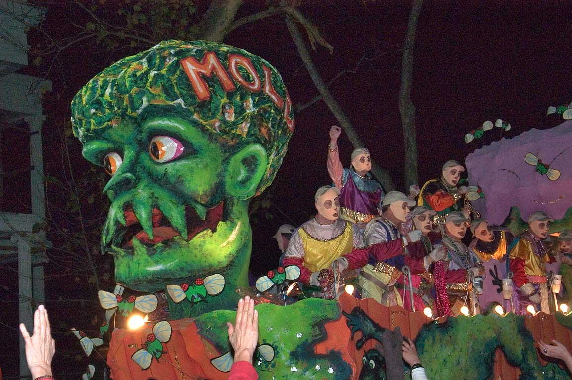 Mold float of krewe of D'Etat at Mardi Gras...Charles Ave.. New Orleans, Louisiana