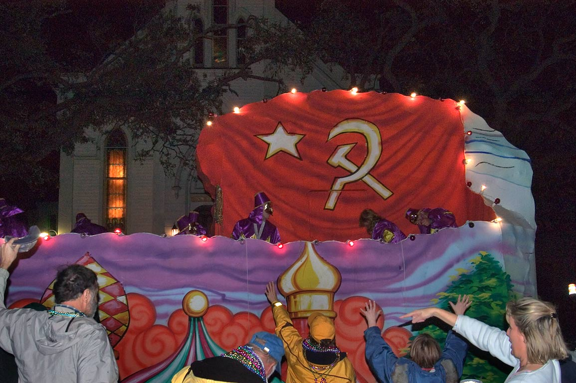 Moscow Russia float of krewe of Morpheus at Mardi...Charles Ave.. New Orleans, Louisiana