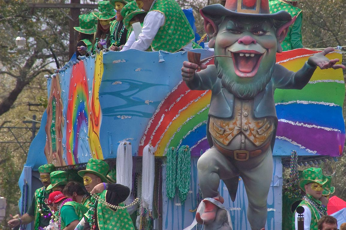 A Mardi Gras float of St.Patrick theme of krewe...Charles Ave.. New Orleans, Louisiana