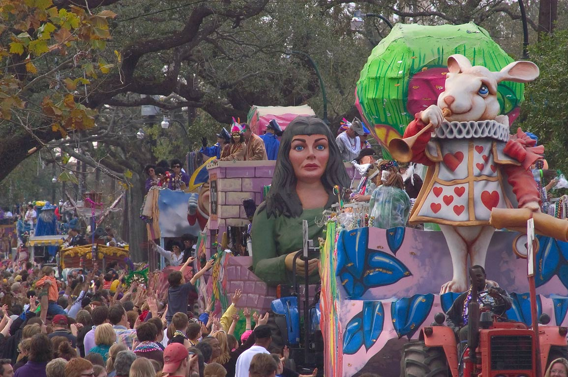 Several Mardi Gras floats of krewe of Tucks at a...Charles Ave.. New Orleans, Louisiana