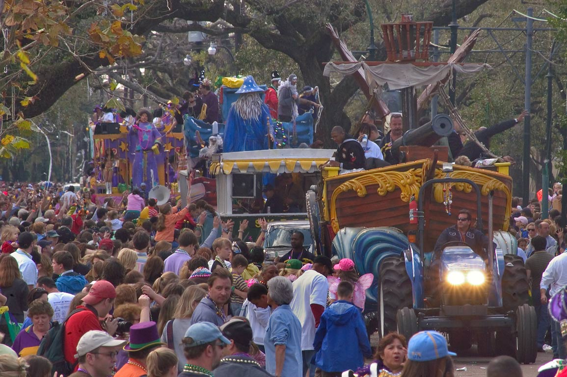Crowds on St.Charles Ave. during Mardi Gras...krewe of Tucks New Orleans, Louisiana