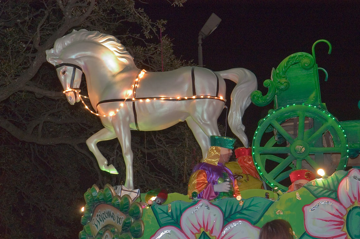 "A horse ""Welcome to Oz"" float at Mardi Gras...Charles Ave.. New Orleans, Louisiana"