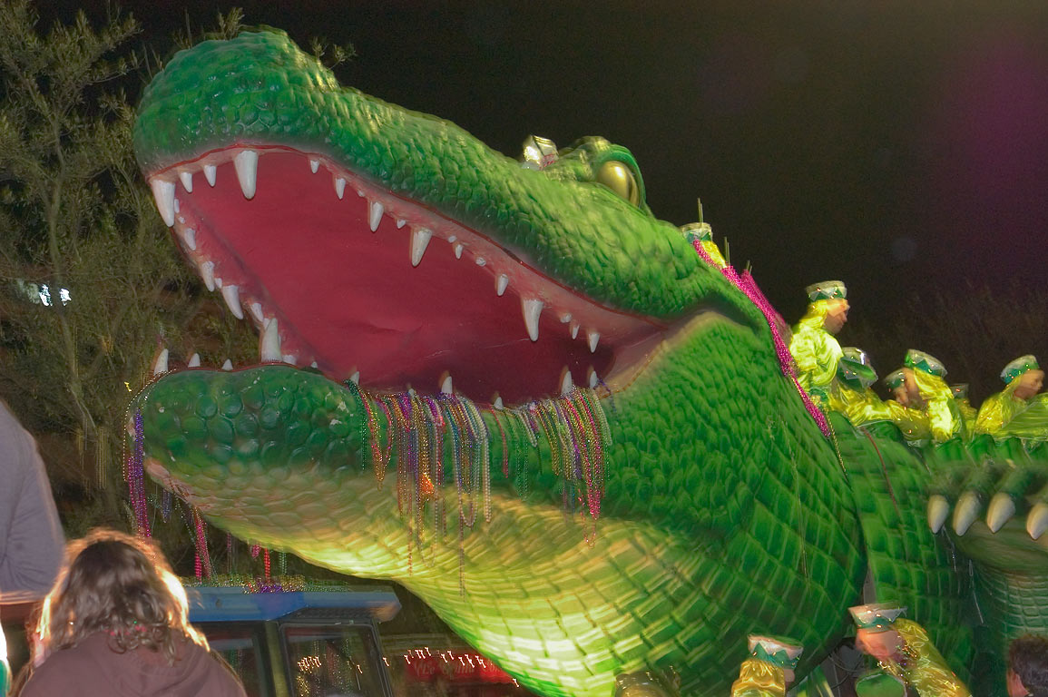Alligator (Bacchagator) float at Mardi Gras...Charles Ave.. New Orleans, Louisiana