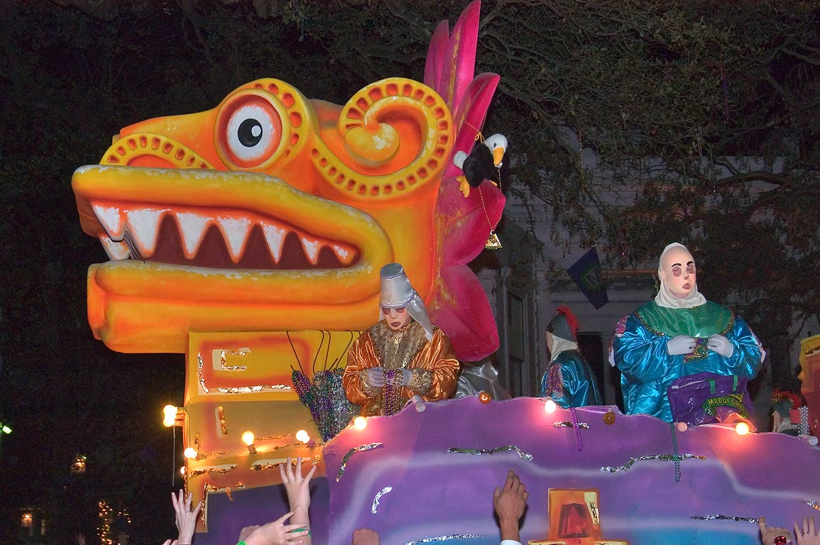 Dragon float of krewe of Endymion at Mardi Gras...Charles Ave.. New Orleans, Louisiana