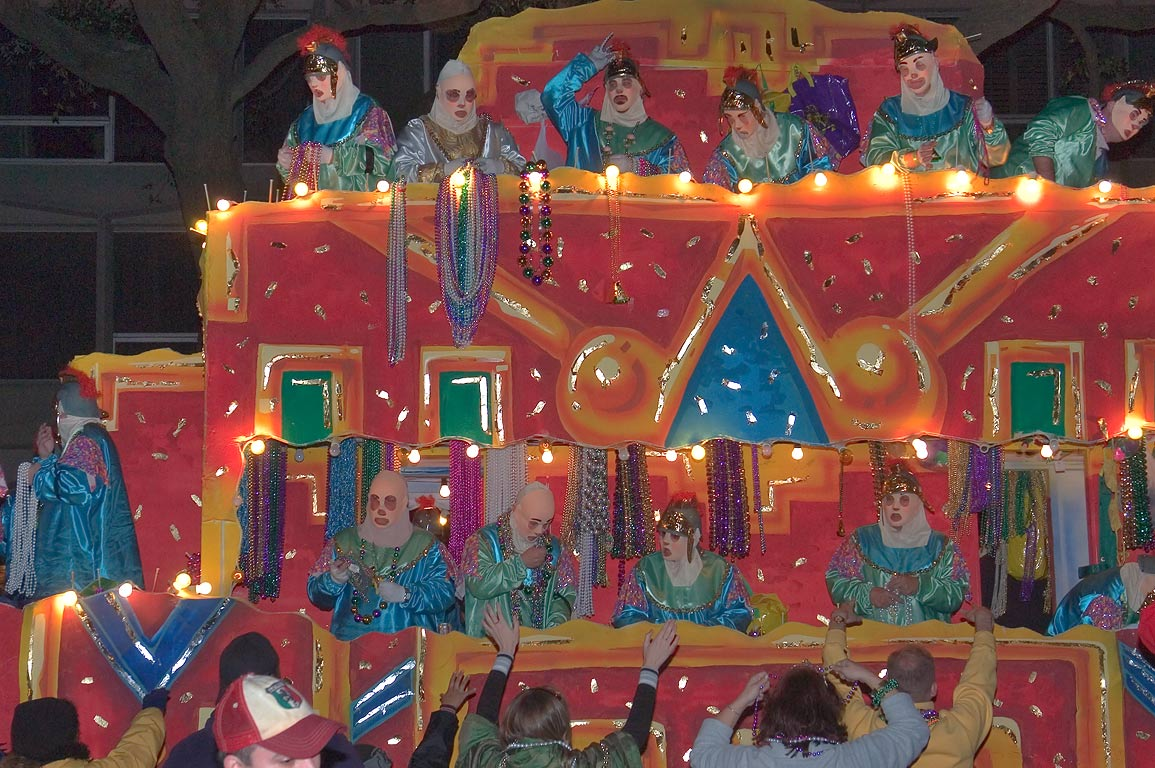 A colorful illuminated float of krewe of Endymion...Charles Ave.. New Orleans, Louisiana