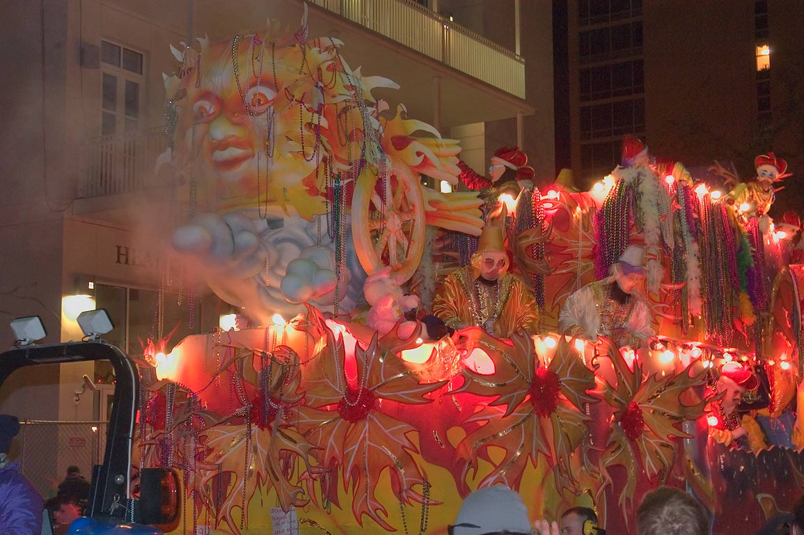 Wind float of krewe of Endymion at Mardi Gras...Charles Ave.. New Orleans, Louisiana