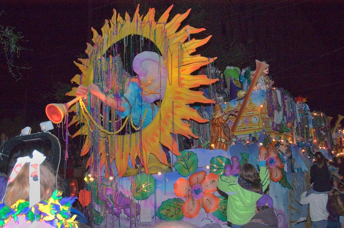Trumpet float of krewe of Endymion at Mardi Gras...Charles Ave.. New Orleans, Louisiana