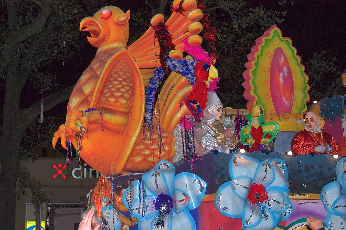 Turkey float of krewe of Endymion at Mardi Gras...Charles Ave.. New Orleans, Louisiana