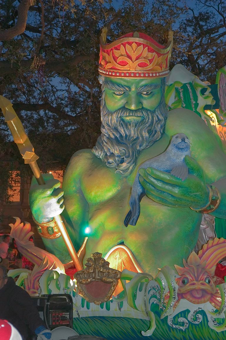 Neptune float of krewe of Proteus at Mardi Gras...Charles Ave.. New Orleans, Louisiana