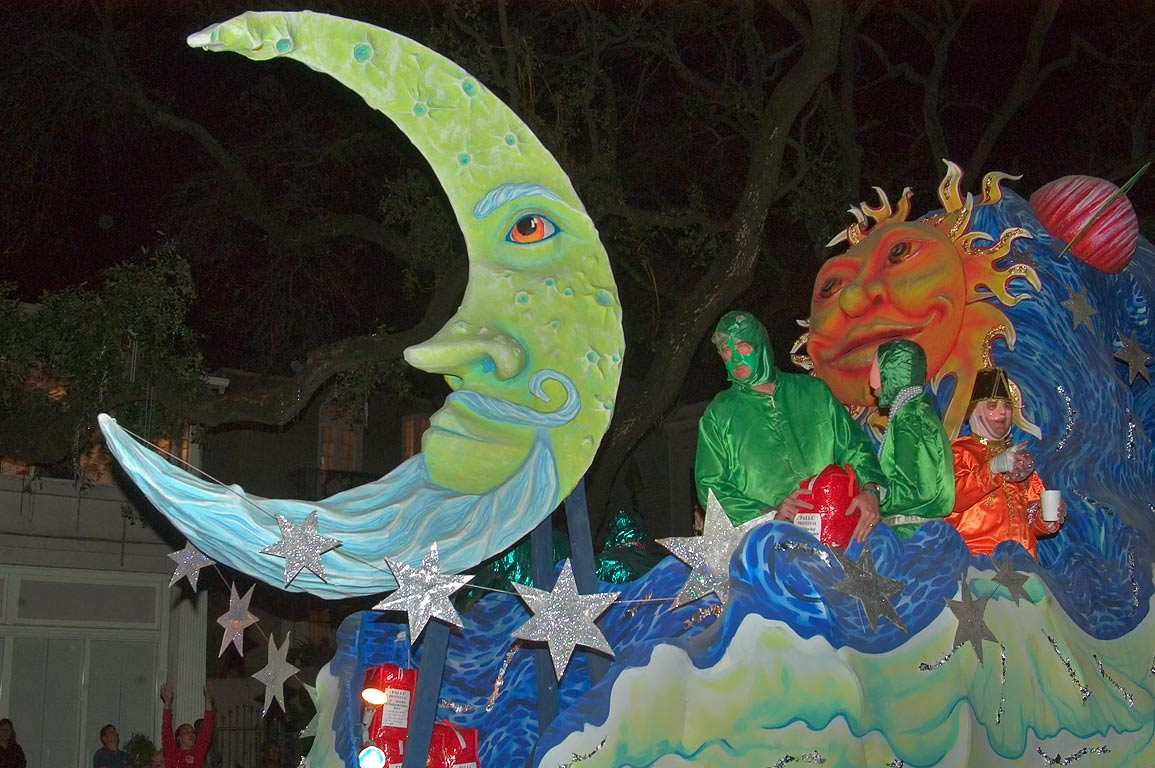 Crescent moon float of krewe of Proteus at Mardi...Charles Ave.. New Orleans, Louisiana