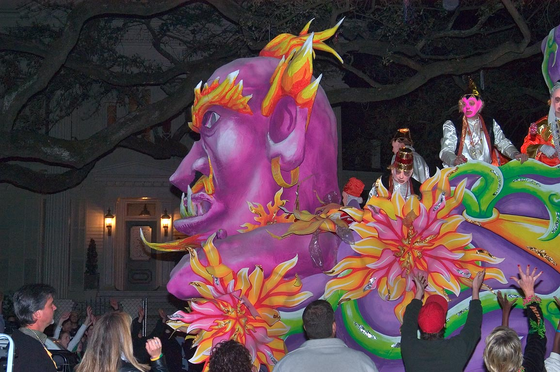 A violet float of krewe of Proteus at Mardi Gras...Charles Ave.. New Orleans, Louisiana