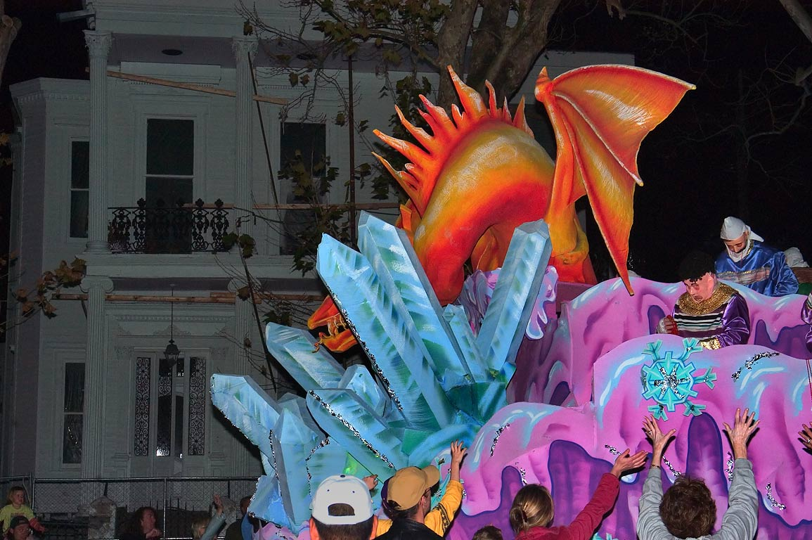 Dragon float of krewe of Proteus at Mardi Gras...in background. New Orleans, Louisiana