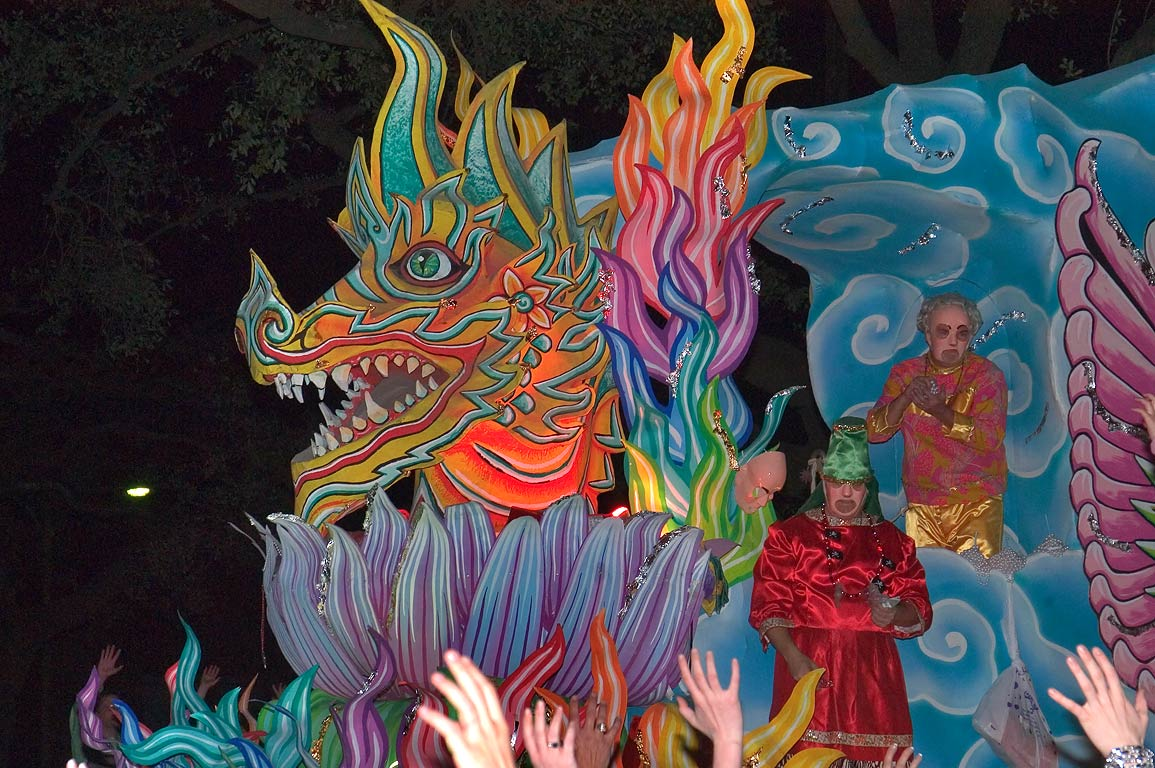 Dragon float of krewe of Proteus at Mardi Gras...Charles Ave.. New Orleans, Louisiana