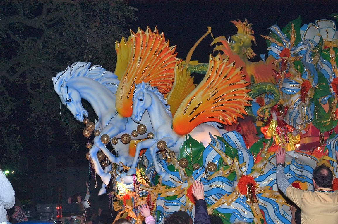 Blue orange-winged horses float of krewe of...Charles Ave.. New Orleans, Louisiana