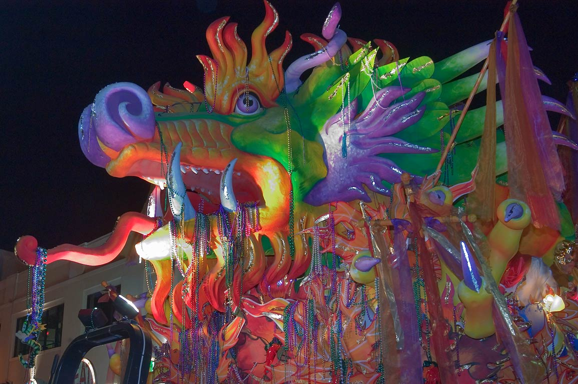Dragon float of krewe of Orpheus at Mardi Gras...Charles Ave.. New Orleans, Louisiana