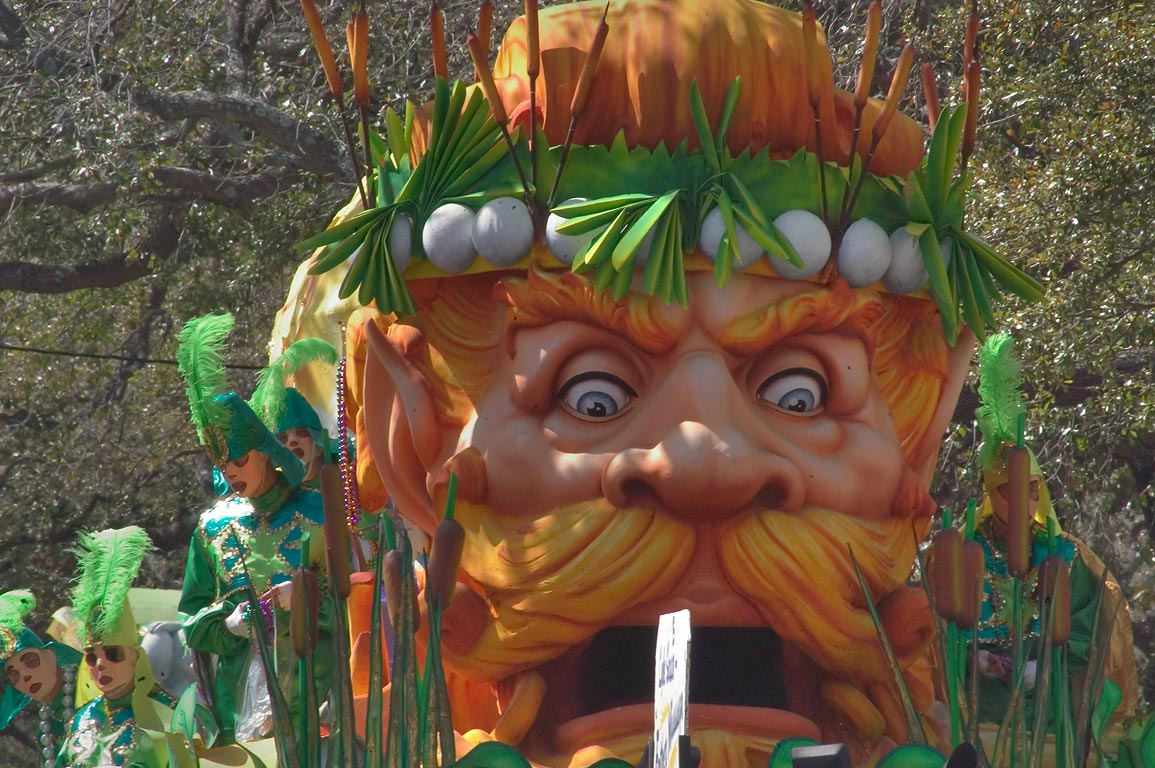 Marsh king float of krewe of Rex at Mardi Gras...District. New Orleans, Louisiana