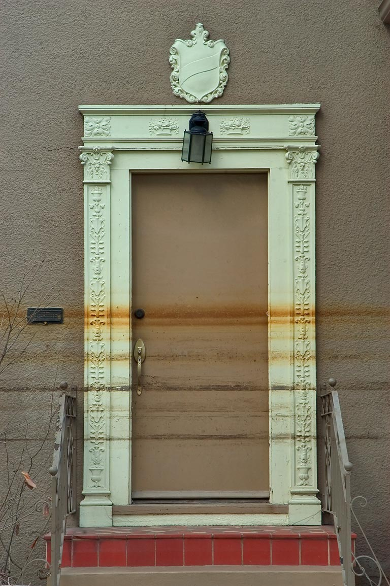 Waterlines on a doorway of a house at Canal Blvd.. New Orleans, Louisiana
