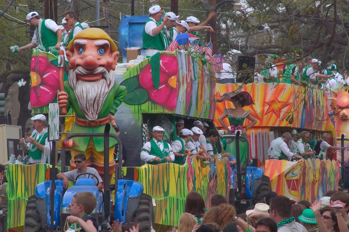 St.Patrick Day parade on St.Charles Ave.. New Orleans, Louisiana