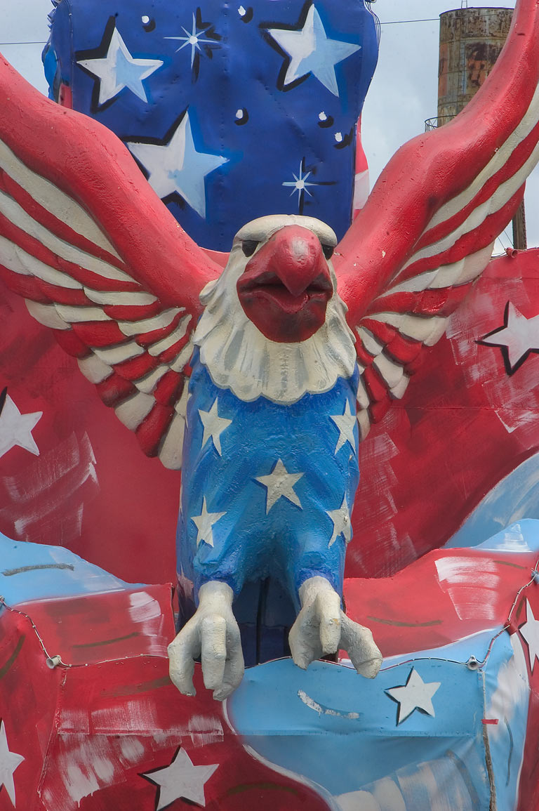 Bald Eagle float in Mardi Gras den (warehouse) of...at Press St.. New Orleans, Louisiana