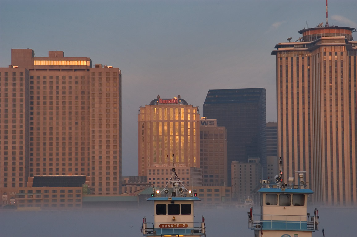 A hotel, Harrahs casino, and WTC tower in...Bank) in mist. New Orleans, Louisiana