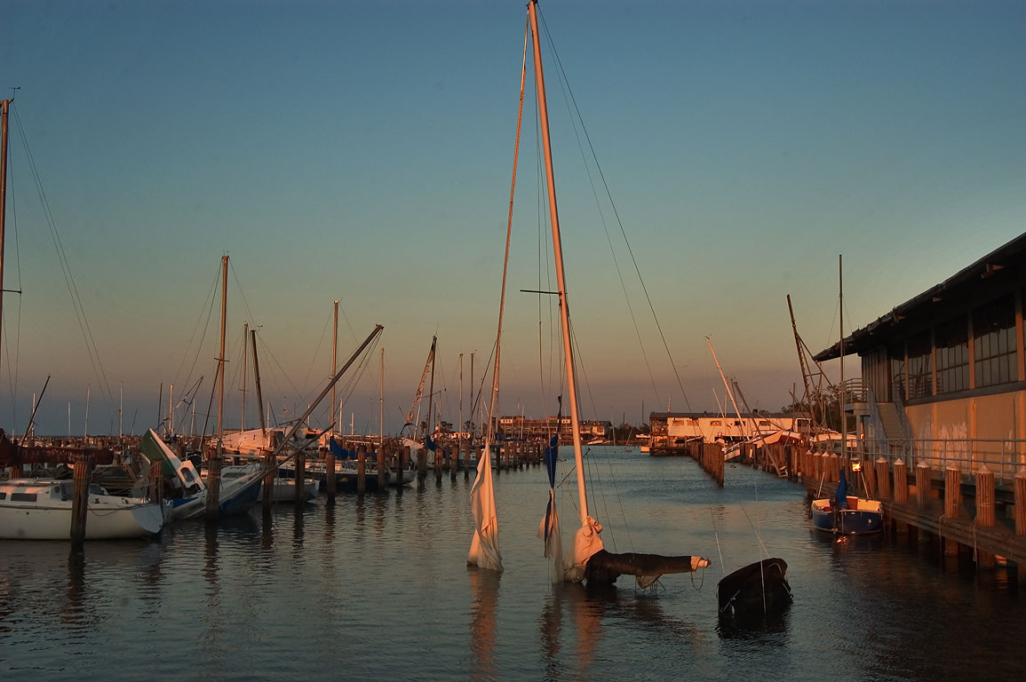 City Yach Harbor in West End at sunset. New Orleans, Louisiana