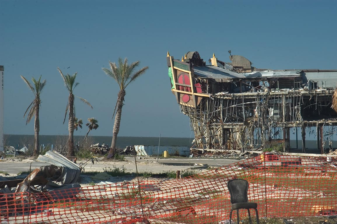 Damaged Treasure Bay Casino in Biloxi. Mississippi