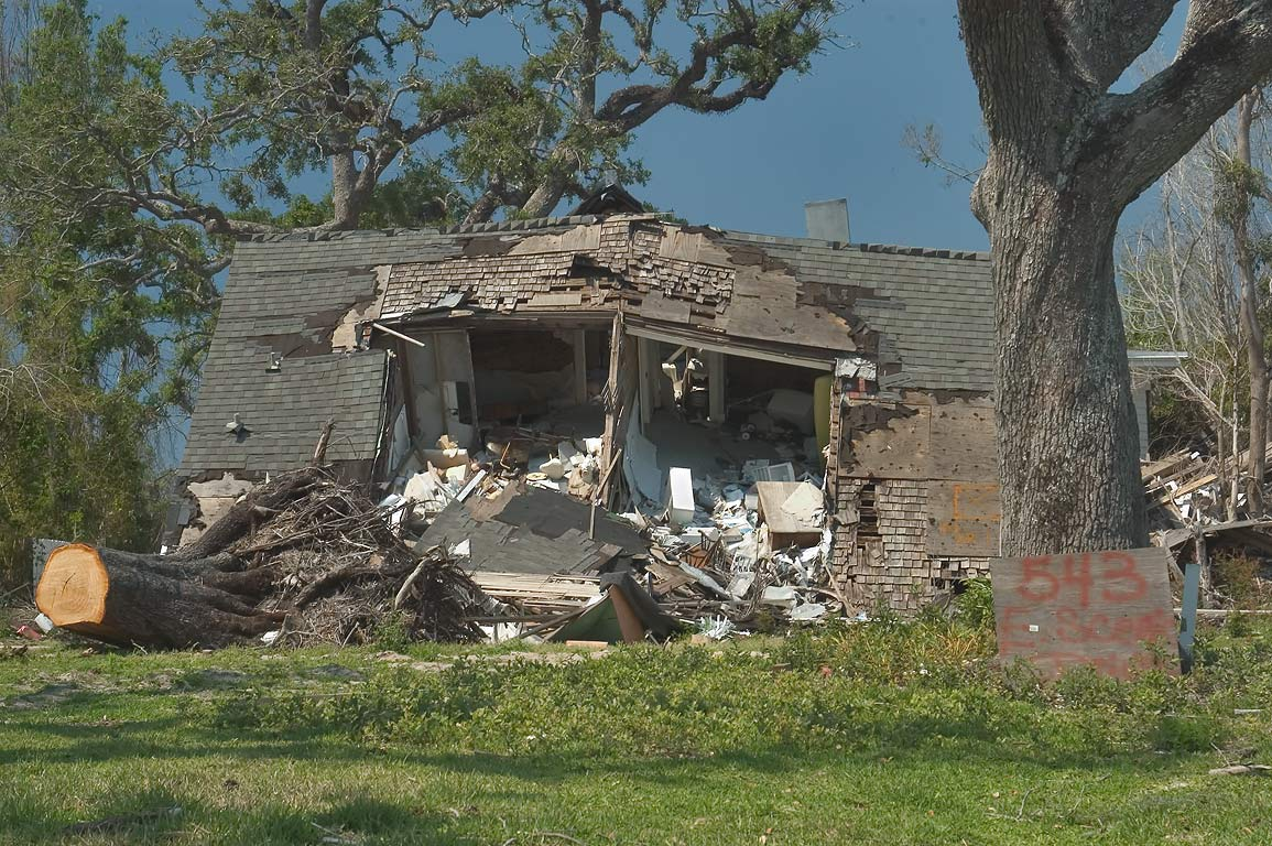 A collapsed mansion at 543 East Scenic Dr.. Pass Christian, Mississippi