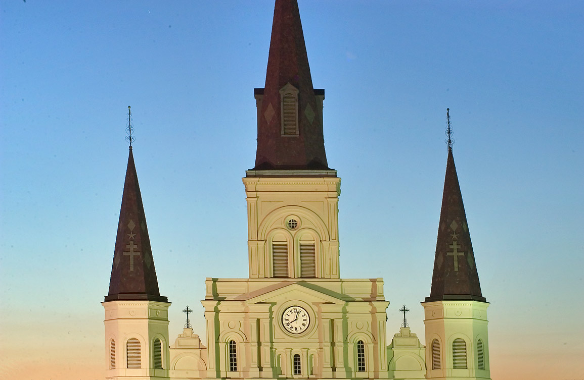 St.Louis Cathedral, view from Washington Artillery Park. New Orleans, Louisiana