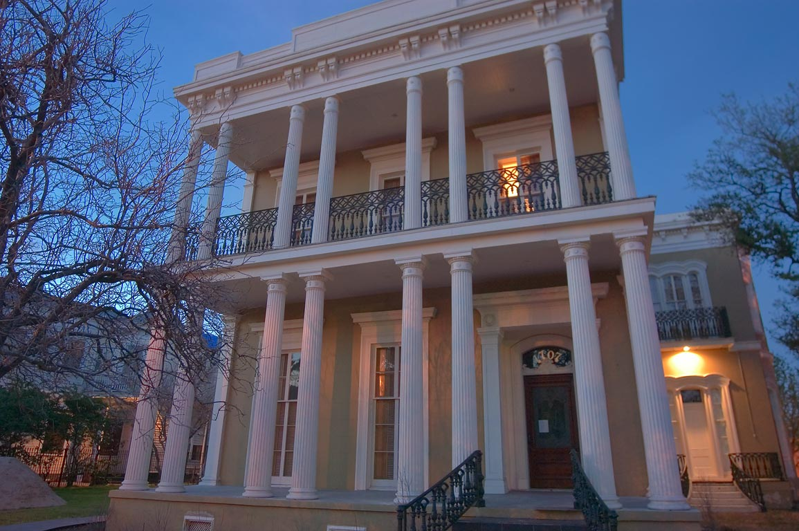 Dufour-Baldwin House at 1707 Esplanade Ave. at evening. New Orleans, Louisiana