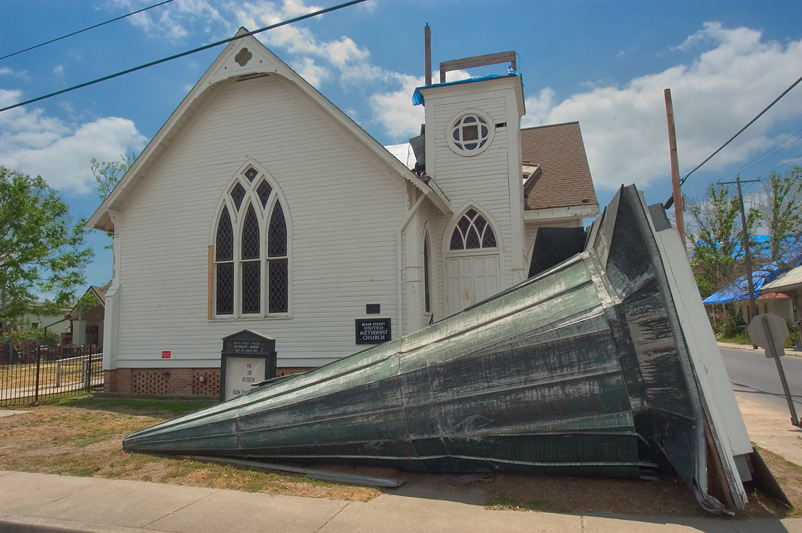 United Methodist Church and its detached steeple on Main St. in Bay St.Louis. Mississippi