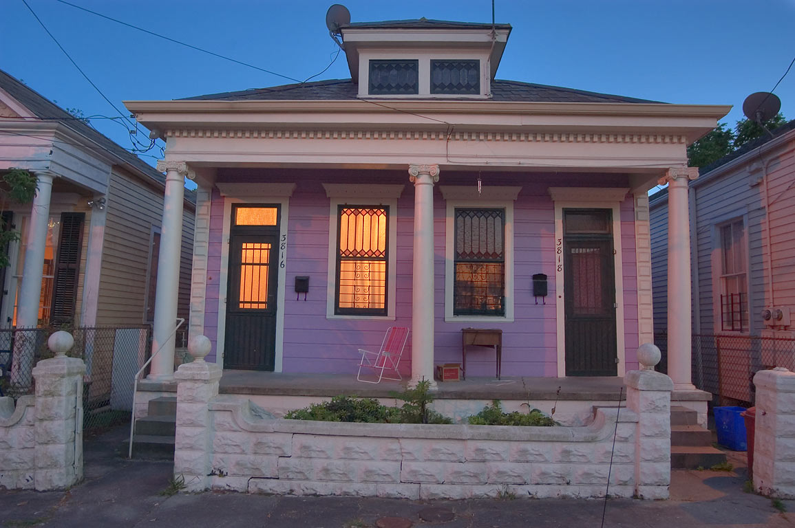 A shotgun house at 3816 Perrier St., Touro District. New Orleans, Louisiana