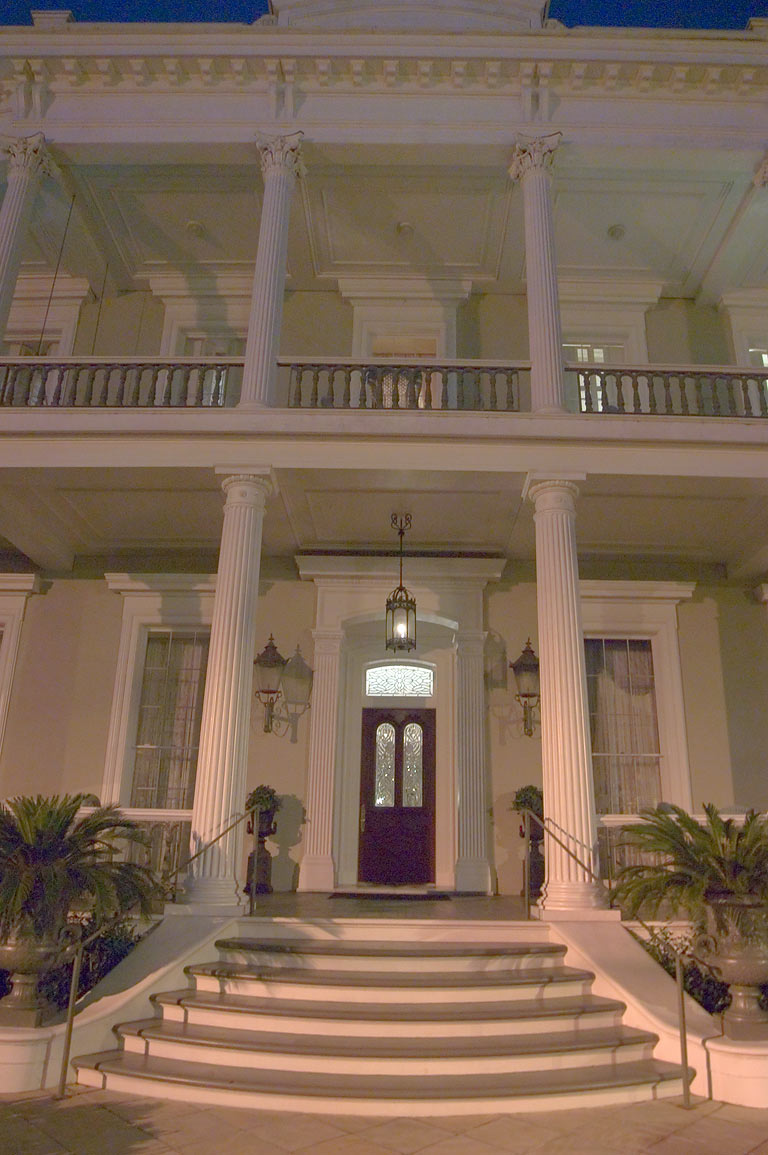 A porch of Robinson House at 1415 Third St. in Garden District. New Orleans, Louisiana