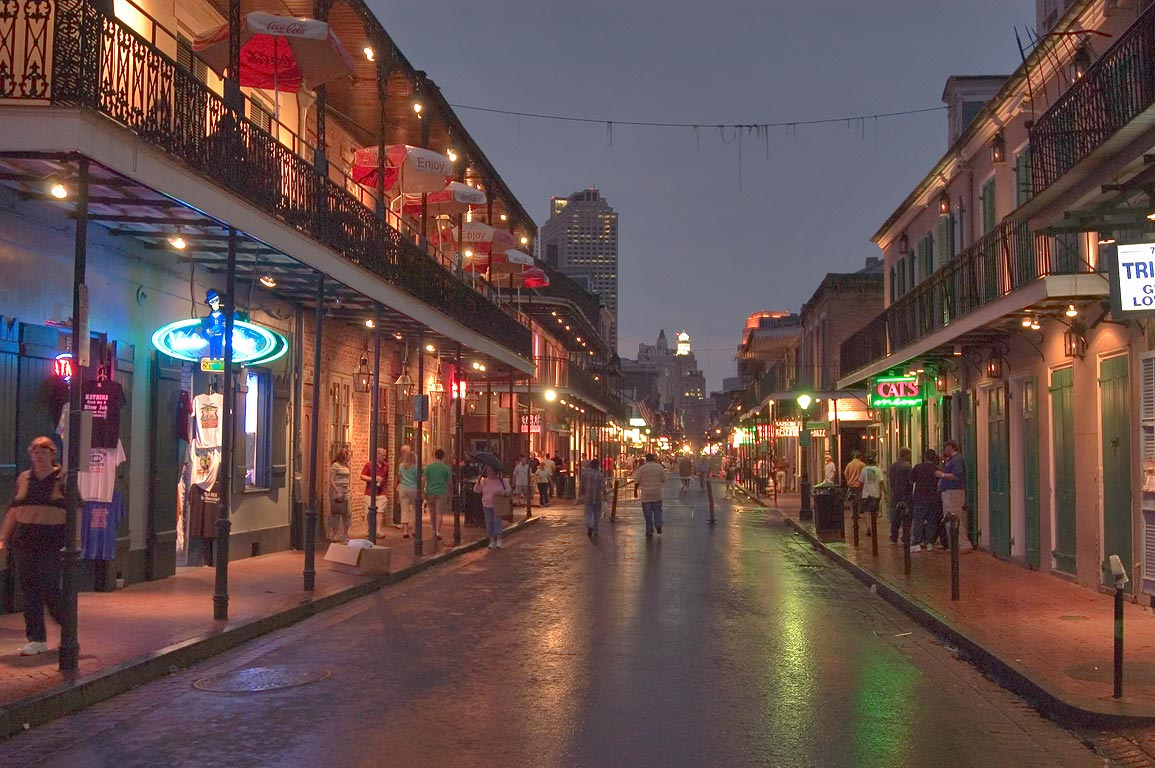 Bourbon Street near crossing with St.Peter St...French Quarter. New Orleans, Louisiana