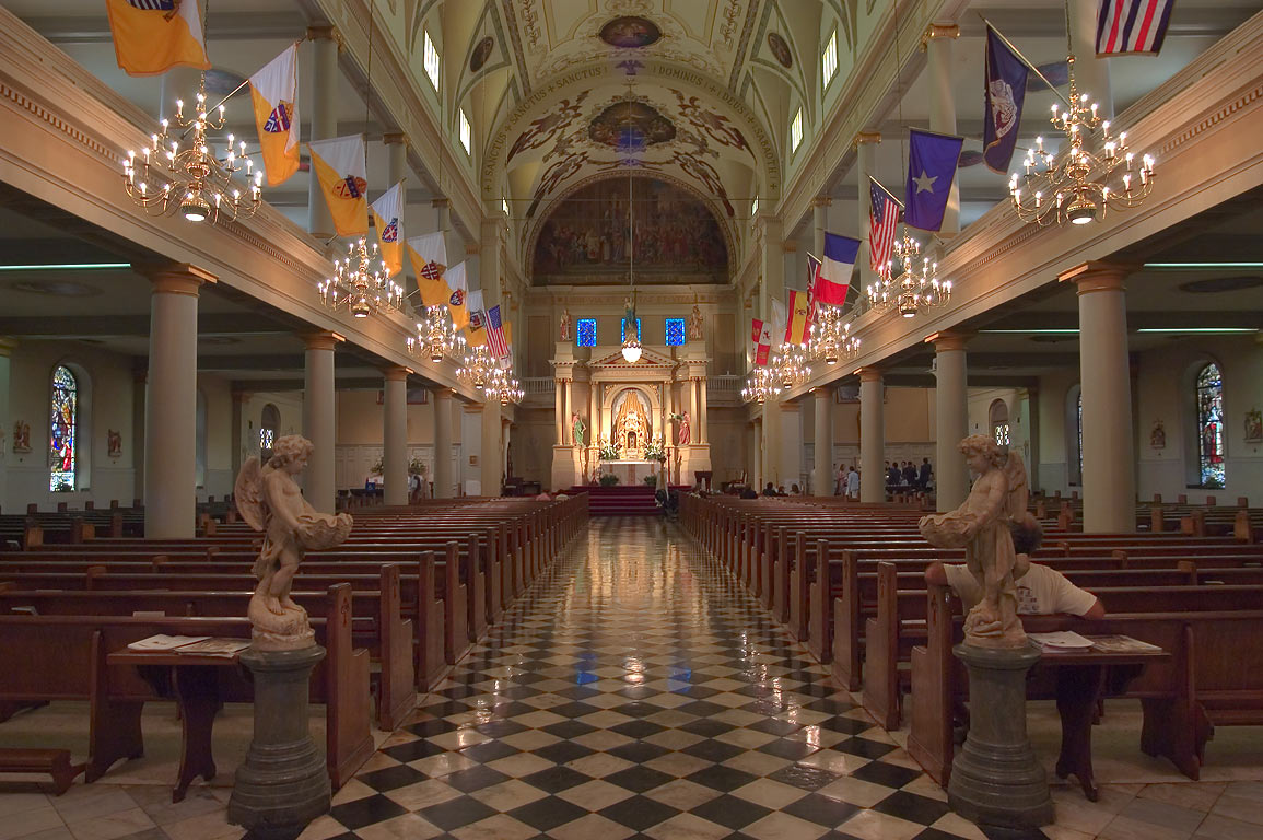 Interior of St.Louis Cathedral, view from the entrance. New Orleans, Louisiana