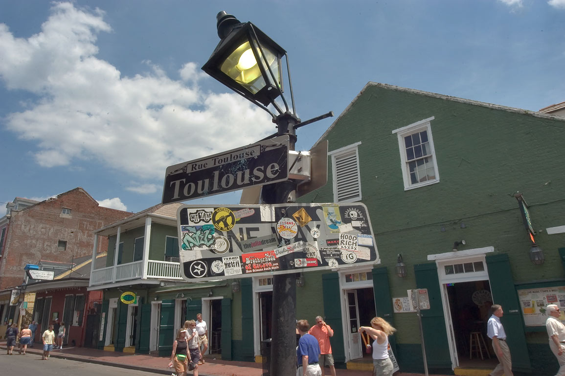 A corner of Toulouse and Bourbon streets in French Quarter. New Orleans, Louisiana