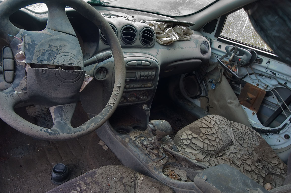 Interior of a car with precipitated silt on North...Ninth Ward. New Orleans, Louisiana