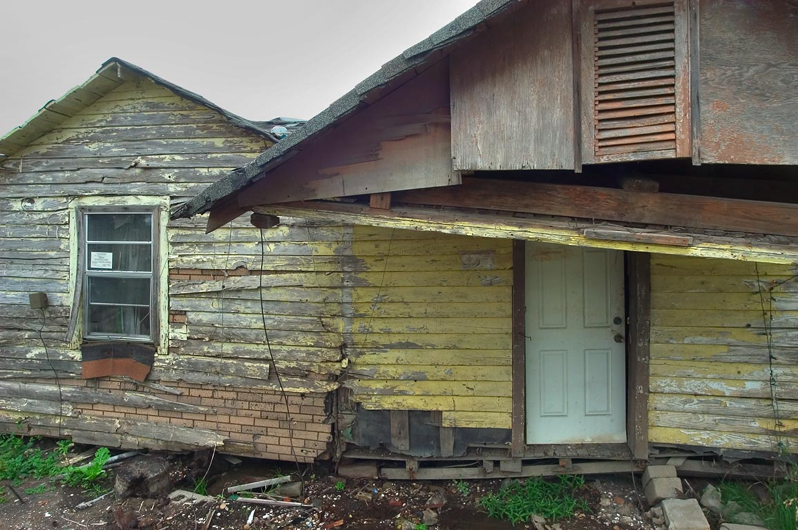 Unsafe houses at a corner of North Prieur and...Ninth Ward. New Orleans, Louisiana